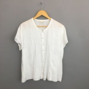 Eileen Fisher White linen button down blouse sz XL